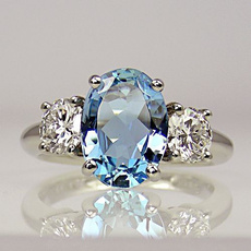Sterling, Blues, DIAMOND, Sterling Silver Ring
