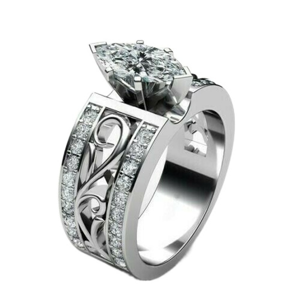 wedding ring, Jewelry, Silver Ring, marquise