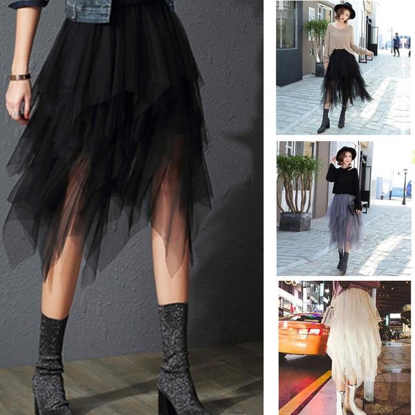 highwaistirregular, long skirt, Fashion, Waist