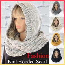 Fashion, knittedscarvesforwomen, Gel, hoodedscarfforwomen