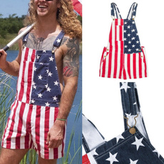 Shorts, pants, unisex, americanflagoverallsshort