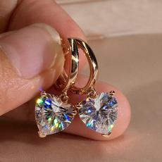 Heart, DIAMOND, gold, wedding earrings