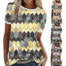 Summer, slim, Geometric, summer t-shirts
