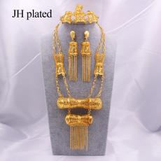womenampgirlsampampampampladiesjewelryset, Bracelet, gold necklace, Earring