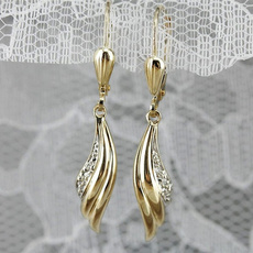 yellow gold, platinum, Dangle Earring, Jewelry