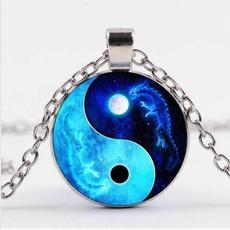 necklacesamppendant, Joyería de pavo reales, Glass, Moon