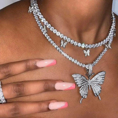 butterfly, Chain Necklace, Bling, Jewelry