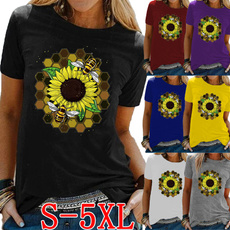 Summer, Plus Size, Graphic T-Shirt, Sleeve
