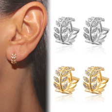 Sterling, Hoop Earring, leaf, Jewelry