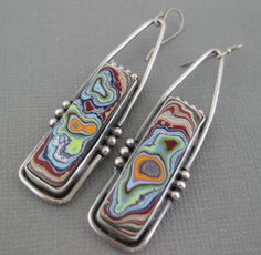 Sterling, Colorful, Stud Earring, dangling