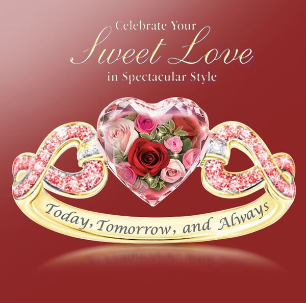 roseflowerring, Heart, letterring, gold