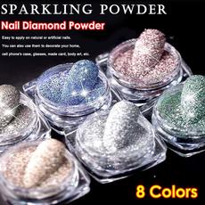nailrhinestonepowder, acrylic nails, Holographic, art