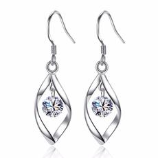 Silver Earrings, DIAMOND, moissanite earrings, rotaryearring