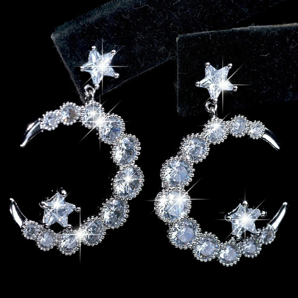 Sterling, DIAMOND, Star, Gemstone Earrings