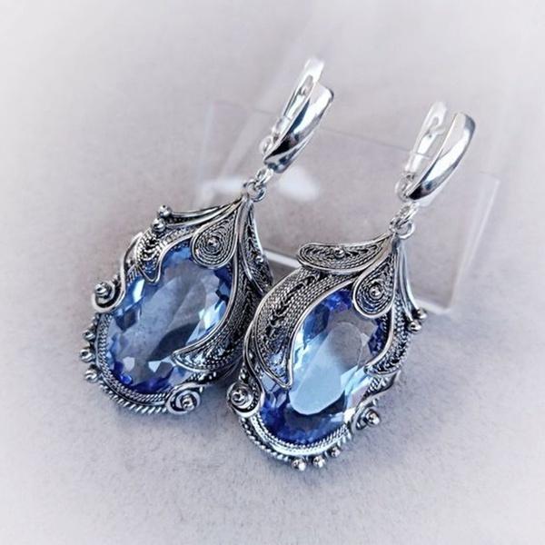 Blues, Fashion, Gemstone Earrings, Crystal