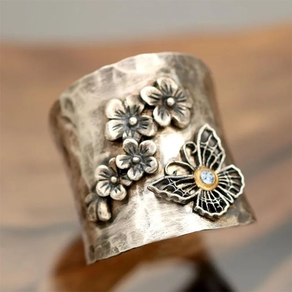butterfly, Sterling, 925 silver rings, cherryblossom