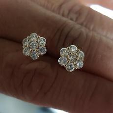 White Gold, DIAMOND, White Gold Earrings, vintage earrings