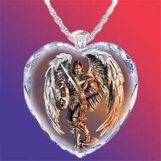 925 sterling silver necklace, heartnecklacecharmcrystaljewelry, Angel, swordandshieldwarrior