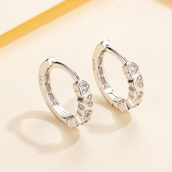 Sterling, cute, DIAMOND, cuteheartearring