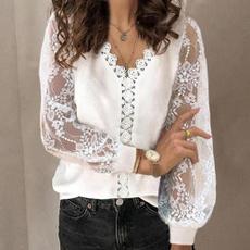 Fashion, Shirt, Hollow-out, V-neck