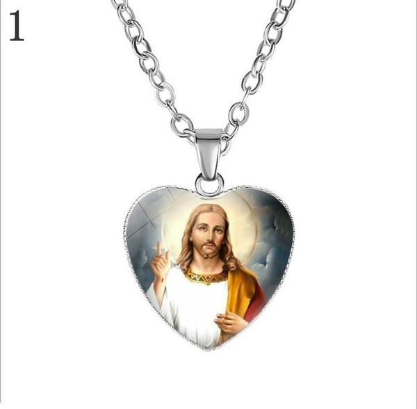 Necklace, faith, heartshapedpendant, jesus