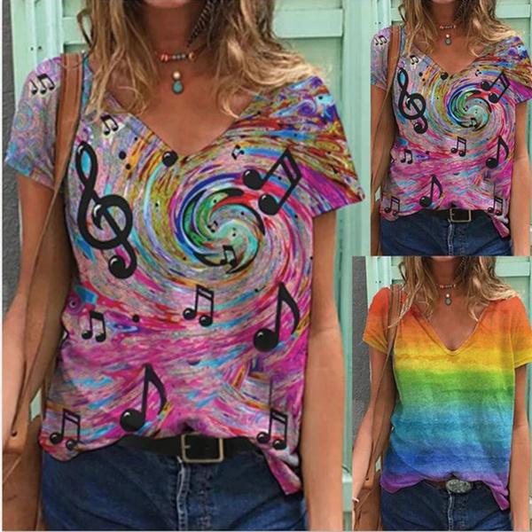 summertopsforwomen, sleeve v-neck, Shorts, Tie Dye
