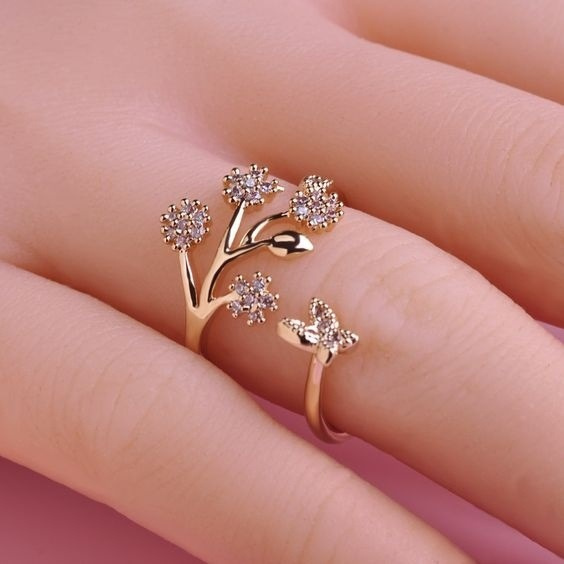 butterfly, golden, Fashion, wedding ring