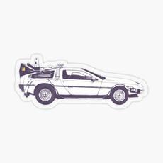 delorean, Car Sticker, Colorful, Cars