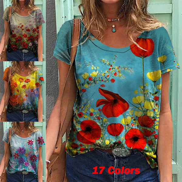 Tops & Tees, Plus Size, Floral print, Graphic T-Shirt