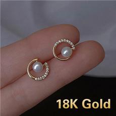 Stud Earring, Fashion, Crystal, gold