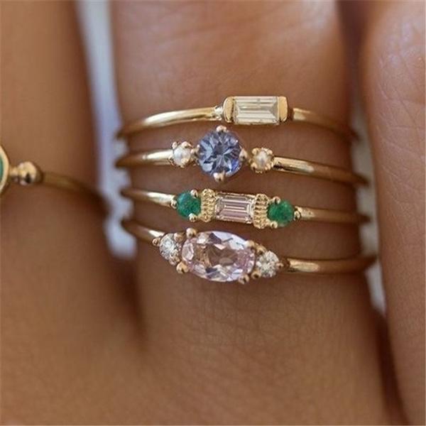 18 k, Engagement Wedding Ring Set, Jewelry, gold