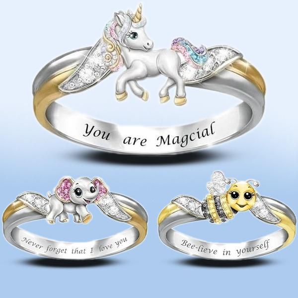 Sterling, crystal ring, Love, unicornring
