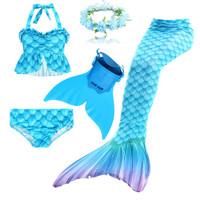 Set of 4 Pieces Princess Cosplay Costume Wishliker Girls/' Mermaid Tail for Swimming with Mermaid Fin and Bikini Set