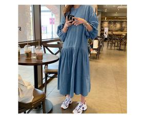 denim dress, long dress, onepiece, women long dress