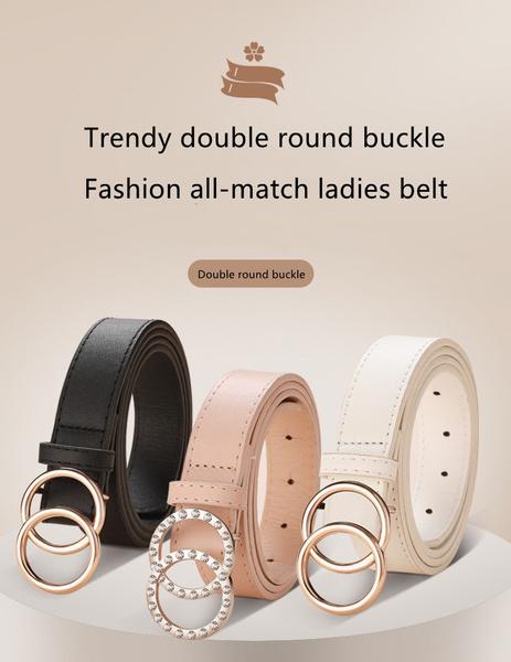 ladiesdoubleroundbucklebelt, ladies fashion belts, DIAMOND, Jewelry