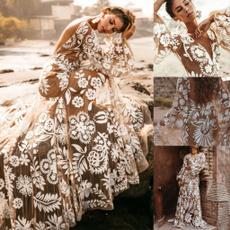 gowns, lanternsleeve, Deep V-neck Dress, Long Sleeve