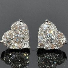 Sterling, Heart, DIAMOND, Gemstone Earrings