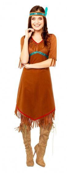 nativeamericancostumeladiescottonbrown, brown, American, Cosplay