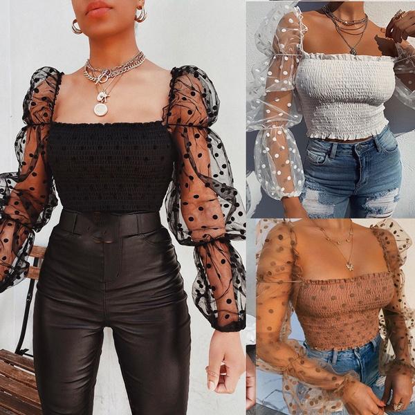blouse, meshtop, See-through top, wrappedchest