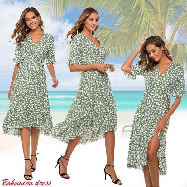 Summer, Fashion, Floral print, ruffled
