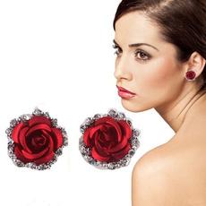 roseearring, Jewelry, Stud Earring, silverplatedearring