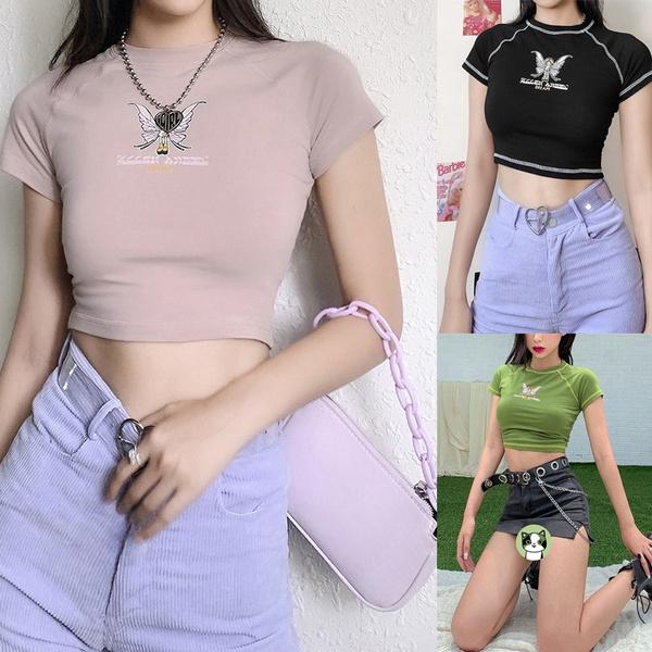 Summer, Shorts, women crop top, Sleeve