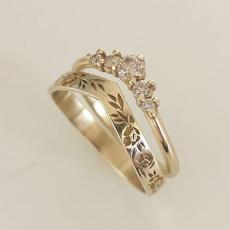 Gold Ring, Engagement Wedding Ring Set, gold, Simple