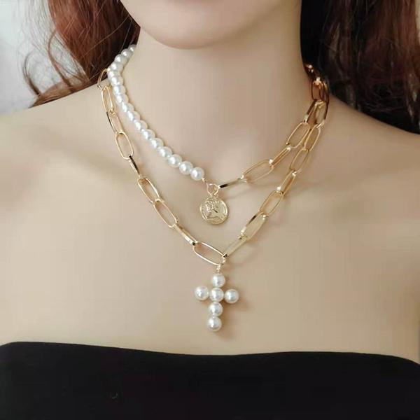 Necklace, crosspearlearringsnecklace, pearlnecklaceearringset, Earring