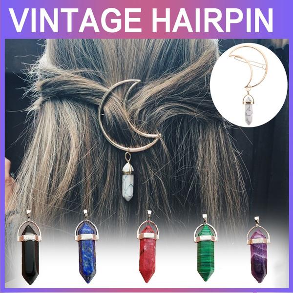 hairdecoration, vintagehairclip, quartzhairclip, Hair Pins