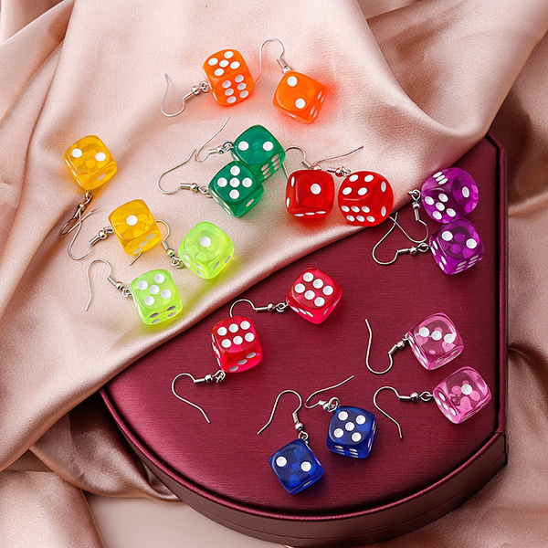 Funny, diceearring, Jewelry, Colorful