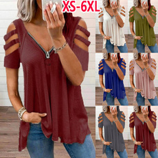 Summer, Moda, Deep V-Neck, Plus size top