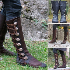casual shoes, Knee High Boots, flatbandageboot, leatherstitching