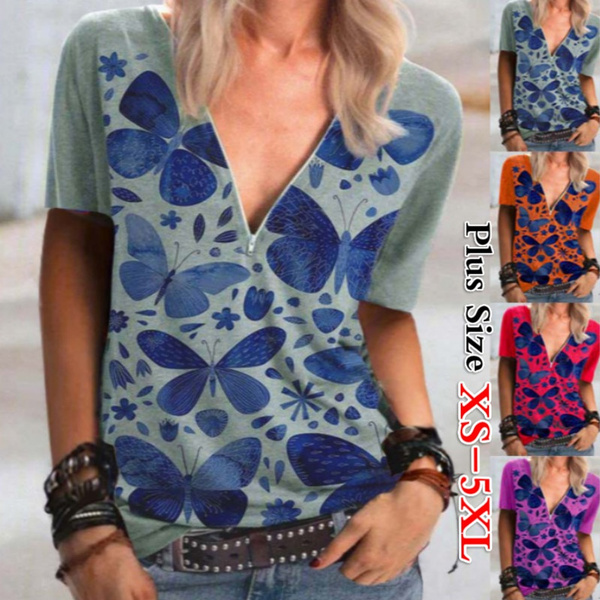 blouse, Summer, Plus Size, butterfly