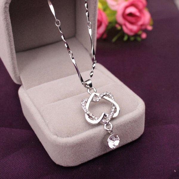 Sterling, Heart, Chain Necklace, 925 sterling silver